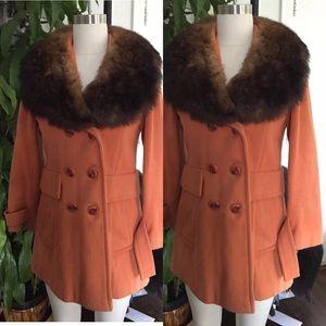 Vintage 60s orange wool beaver fur collar coat sm
