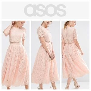 ASOS - Lace Crop Top Midi Prom Dress