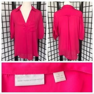 New York&Company Pink Collared Vneck Career Blouse