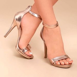 LuLus Samantha Rose Gold Heels