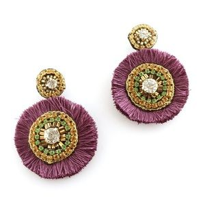 Round all tassel bejeweled earrings