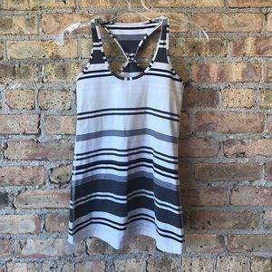 Lululemon black shite gray cream stripe tank sz 6