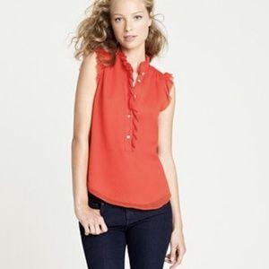 J.CREW 100% SILK CHERRY RED NATASHA BLOUSE
