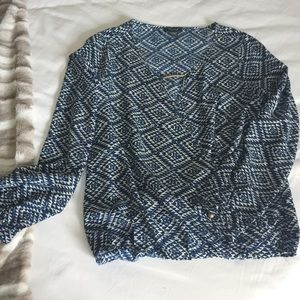 Long sleeve Blue and White faux wrap blouse