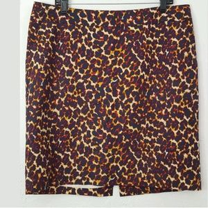 Merona Navy Leopard Pencil Skirt Pockets 14