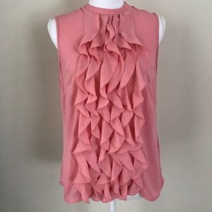 [H&M] pink ruffle front career Sleeveless blouse