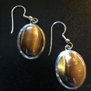 Sterling silver tiger eye earrings