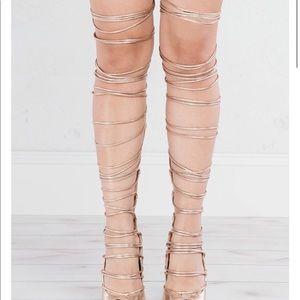 Akira Thigh High Lace Up Heel
