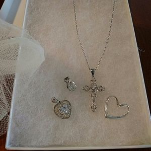 Sterling Silver Chain with 4 Pendants