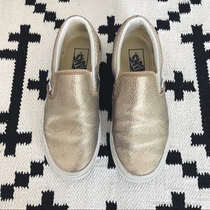 Vans Metallic Leather Slip On Sneakers