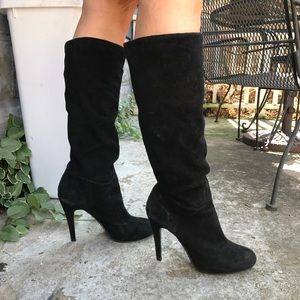 Tall black suede knee high boots