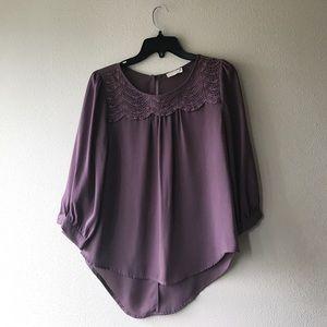 Lush Crochet 3/4 Sleeve High Low Blouse