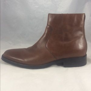 Brown leather Kenneth Cole zip up ankle boots