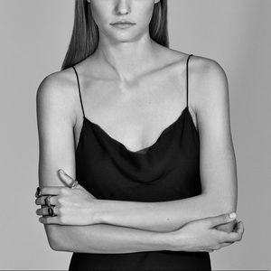 Zara Woman Black Satin Slip Dress
