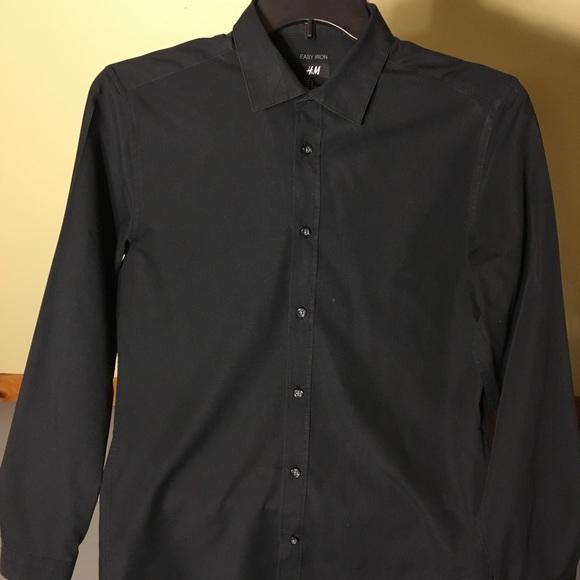 96cd3e2c7905 H&M Shirts | Hm Easy Iron Black Slim Fit Button Down Shirt S | Poshmark