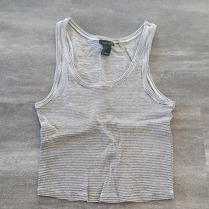 White Black Striped Cropped Cami