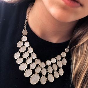 NWT NY&Co Silver & Gold Glitter Statement Necklace