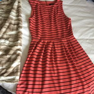 Coral and black stripped sleeveless a line dress