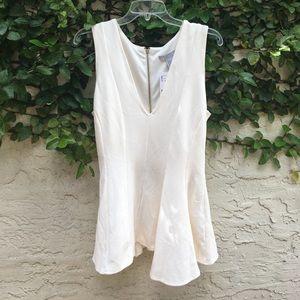 H&M - dressy cream zipper back top - size S