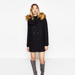 Zara Wool Duffle Hooded Coat with Detachable Fur