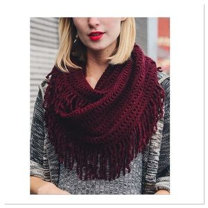 Burgundy Lattice Fringe Infinity Scarf