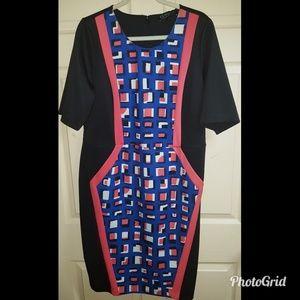 ELOQUII Printed Colorblock Dress