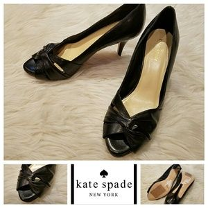 $295 KATE SPADE Black Leather Knot Peep Toe Pumps