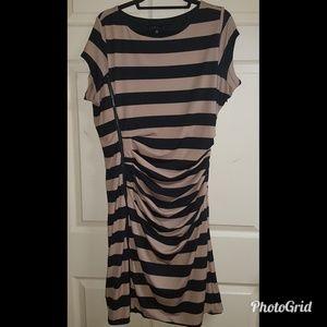ELOQUII Asymmetrical Zip Stripe Dress