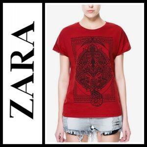 Zara black and red elephant Tribal tee