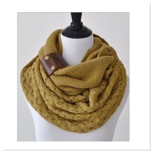 Brown Moss Cuff Accent Infinity Scarf