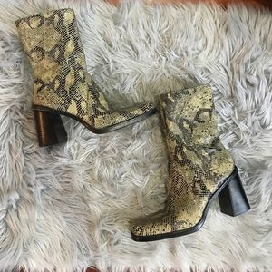 Leather snake print MIA boots