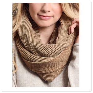 Mocha & Khaki Two-Tone Knit Infinity Scarf