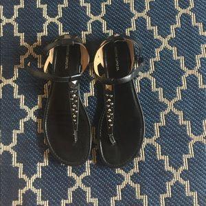Black thong studded sandals