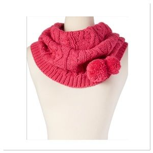 Boutique Accessories - Pink Pom Pom Infinity Scarf