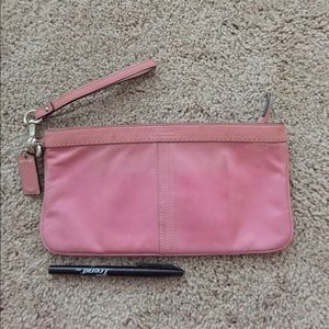Authentic Coach pink vinyl clutch