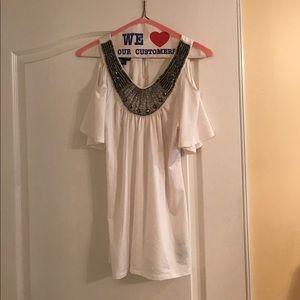 Bebe beaded neck cold shoulder blouse