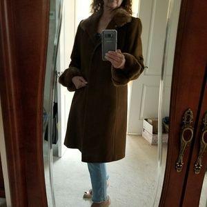 Larry Levine wool,  cashmere, rabbit trim coat