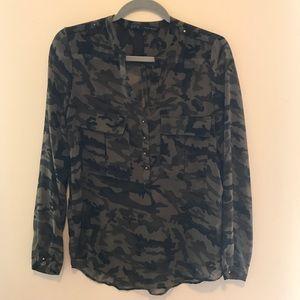Zara camo print blouse