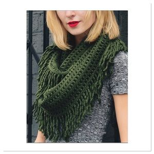 Olive Lattice Fringe Infinity Scarf