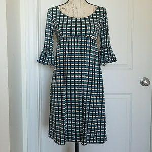 Max Studio XS Teal/Blk/Cream Pattern Dress