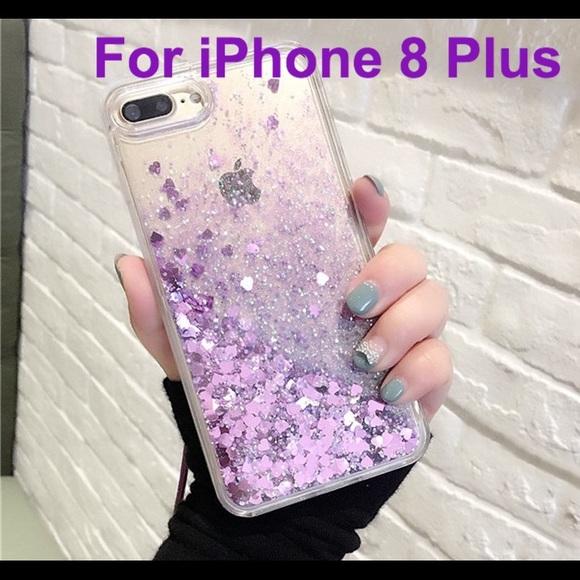quality design e2161 4eb10 iPhone 8 Plus Case Waterfall Glitter Hearts Purple