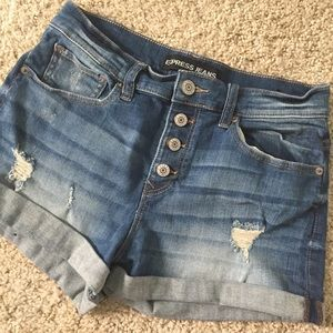 Express size 6 distressed denim shorts