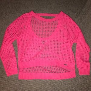 Roxy Pink Mesh knit Sweater Cover Up Small