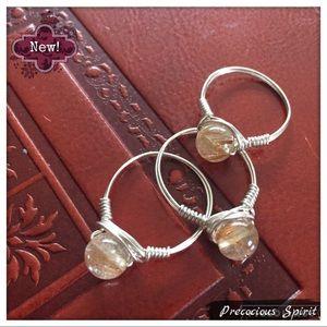 Pretty rutilated Quartz Wire Wrapped silver ring