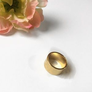 Wide Band 14k Gold Brass Hammered Ring