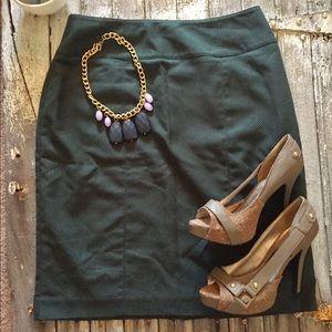 Worthington Forest Green and PolkaDot Pencil Skirt