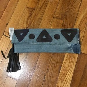 Handbags - Denim and leather clutch