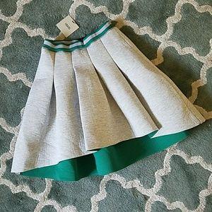 ASOS Gray Green Scuba Pleated Skirt Sz 2 NEW