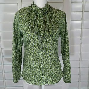 J. Crew Floral Ruffled Button Front Blouse