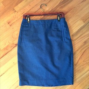 "Blue ""denim"" pencil skirt"